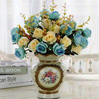 5 di colore rosa fiore artificiale bouquet stile europeo finte nozze decorazione della casa fiori artificiali 12 Panno di seta XD22736
