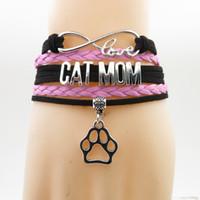 Bracciale in pelle scamosciata fatta a mano Infinity Love Cat Mom Cane Bracciale Dog Claws Charm Cat Mom Gift Bracciali bracciali avvolgenti in pelle