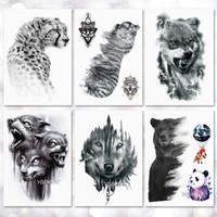 ماء وشم مؤقت ملصقا الذئب النمر نمط الوشم نقل المياه الجسم فن الوشم وهمية للنساء الرجال