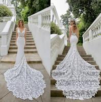 Élégante robes de mariée sirène satin V cou balaye train trompette robes de mariée de la mariée plus taille personnalisée robe de mariée sur mesure robes de mariée