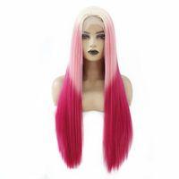 Синтетические парики сексуальные кружева передний парик Оммре розовая красная длинная прямая глиняная термостойкое волокна волос средняя часть для женщин