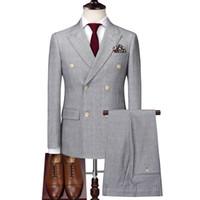 Abito doppiopetto in plyesxale uomo rosso chiaro grigio 3 pezzi abiti da sposa per uomo slim fit abiti da uomo d'affari di alta qualità DH01