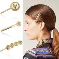 Metal Beauty Head Luxo Cabelo Clipes 4 estilos Mulheres Vintage Coin Cabelo Barrettes Moda Acessórios De Cabelo Para O Partido De Presente Atacado JY861