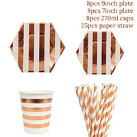 49pcs / set Rose Gold-Geburtstags-Party Pappteller / Cups / Straw Alles Gute zum Geburtstag-Partei-Dekoration Erwachsene Mädchen-Jungen-Einweggeschirr