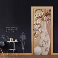 3D Vinyl Door Mural Poster European Vase Wall Sticker Decal Art Decor Rimovibile Murale Carta da parati porta economica