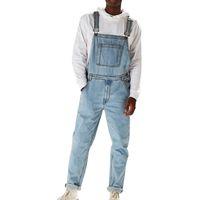 Moda Adam Rahat Gevşek Cep Tulum Rahat Denim Tulumlar Pantolon Jeans Baggy Kot Adam Mavi Pantolon