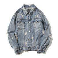 Erkek Ceketler Sıkıntılı Denim Yırtık Streetwear Yıkanmış Yıkanmış Ceket Yamalar Erkek Kadın Retro Hip Hop Giyim