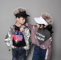 Falsos gorra de béisbol nueva manera caliente de los niños de la novedad de pelo Visera de sol niños de los sombreros Bisoñes peluca de pelo fresco divertido Pérdida regalos