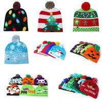 22styles Led Halloween Noël Bonneterie Chapeaux Enfants bébé d'hiver plus chaud Crochet Caps cadeau Beanies décor fête dessin animé citrouille props FFA2976
