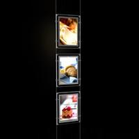 (3Unit / colonne) A4 Systèmes d'affichage de la tige de câble à simple face, kits d'affichage de fenêtre LED, affichages de paysage LED de l'immobilier