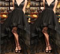 민소매 얇은 명주 그물 하이 - 로우 Vestidos 드 피에스타 섹시한 저녁 파티 드레스 맞춤 제작 2019 블랙 (High) 저 (Low) 댄스 파티 드레스와 띠 V 목