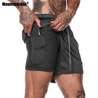 Calções ao ar livre Mountainskin verão homens 2 em 1 execução rápida seca sportswear caminhadas fitness macho calças VA745