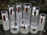 Bottiglia di spruzzo della pompa di vetro smerigliabile ricaricabile vuoto Ideale per la lozione Olio essenziale, barattoli crema da viaggio Piccolo contenitore con coperchio argento luminoso