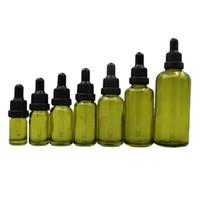 Zeytin Yeşil Cam Uçucu Yağ Parfüm Şişesi Sıvı Reaktifi Pipet Şişeleri Göz Damlalık Şişe Çocuk Geçirmez Kapaklar