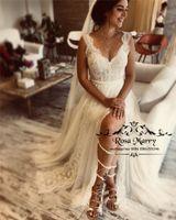 Artı Boyutu Vintage Dantel Boho Gelinlik 2019 Line V Boyun Ucuz Mütevazı Bohemia Ülke Yunan Gelin Törenlerinde Vestido De Novia