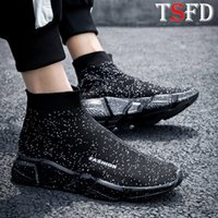 Black Men' s Shoes Ultralight Male Sneakers High Top Spo...