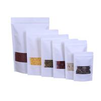 Sacos Sealable Bolsas De Papel Kraft Branco Stand Up Zipper Resealable Food Grade Snack Biscoito Bolso De Embalagem