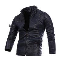 Мужская кожаная куртка молния кожаная одежда Повседневная Искусственная кожа одежда свободное пальто с 3 цветами Азиатский размер M-3XL