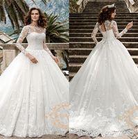 Изящные кружевные A Line Свадебные платья 2020 Sheer длинными рукавами Тюль Аппликации Люкс Свадебные платья с корсетом назад Свадебные платья