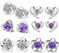 Kadınlar için Küpe Kore Kristal Kanal Küpe Çiviler Alyans Toptan 925 Ayar Gümüş Saplama Küpe