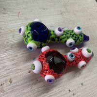 4 Zoll Buntes Glas Pfeife Löffel Augen Luminous Handrohr Ölbrennerrohr Rauchzubehör der kostenlosen Versands