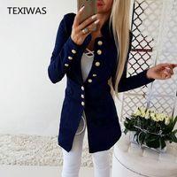 TEXIWAS Takım Elbise Ceket Kadın Blazers kadınlar Tek Göğüslü Hırka Kadın Blazer Ince palto Ofis Lady Zarif Çalışma Blazer tops