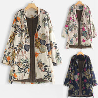 여성용 양모 혼합 여성 겨울 패션 따뜻한 편안한 빈티지 outwear 꽃 프린트 포켓 대형 코트 도매 무료 배송 z4