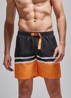 سروال الصيف تباين الألوان الجري الملابس الرياضية فضفاض مخطط طباعة الرباط الجيب رياضة السراويل الملابس مصمم رجالي