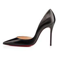الكلاسيكية المسيحيين النساء أحمر أسفل مضخات عالية الكعب اللمحة تو الخنجر اللباس أحذية منصة براءات جلد لامع color08CM 10 سنتيمتر