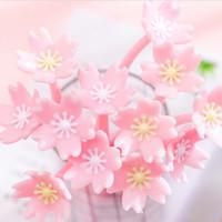 Симпатичные розовые сакуры цветок гелевые ручки корейские канцелярские принадлежности черные чернила силиконовые гелевые ручки каваи подпись ручки продвижение подарок школьные канцелярские принадлежности