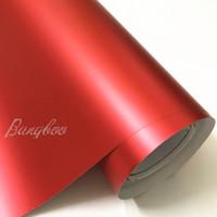 Hot Sale 1.52x18m Premium Satin Red Matte Chrome Vinyl Film Wrap Sticker Airr Bubble Free