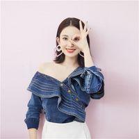 Yeni tasarım kadın kot kot düğmeleri omuz uzun kollu bluz gömlek artı boyutu S M L üstleri kapalı Fırfırları patchwork