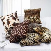 Дешевые леопард зебра наволочка животных шаблон автомобиля подушка наволочка площадь Супер мягкий диван бросить наволочки чехлы 43*43 см