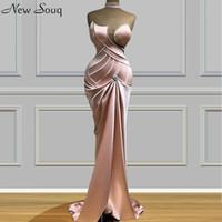 Pink Long Formal Dresses 2020 Mermaid Vestido Longo Plus Size Custom Made Women Sweetheart Neck Satin Evening Dresses