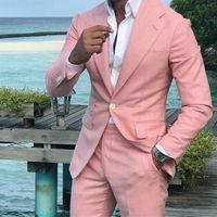 Summer Rose Lin Hommes costumes de marié de smoking 2piece Epoux tenue décontractée Le meilleur homme Attire Blazer Groomsmen Ternos Slim Costume Homme