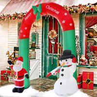عيد الميلاد الدعائم 180CM 240CM العملاق نفخ القوس بابا نويل ثلج عيد الميلاد الديكور للمنزل السنة الجديدة حزب الدعائم