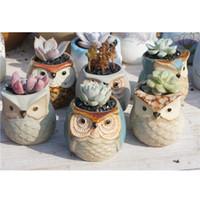 Bella vaso di fiori a forma di gufo del fumetto per piante carnose di piante di piante di piante di piante ceramiche Piccola mini casa / giardino / decorazione dell'ufficio