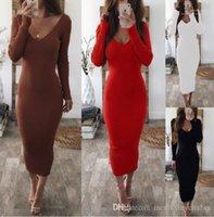 Elbise Sonbahar Kış Örgü Uzun kollu Çizgili Elbiseler Giyim Çift V Kadınlar Seksi BODYCON Uzun