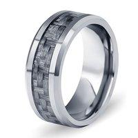 رجالي خاتم جديد التنغستن الصلب الرجال خاتم الأزياء والمجوهرات الجديدة بسيط ألياف الكربون التنجستن الصلب الدائري
