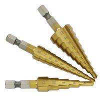 3 stücke HSS Titanbeschichtete Schritt Bohrer für Metall Frässchneider 3-12mm4-12mm4-20mm High Speed Stahl Holz Bohrwerkzeuge Werkzeuge