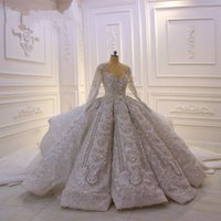 Vintage Sequined Lace Appliqued Ball Gown Wedding Dress Spar...