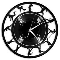 Horloge murale vinyle de baseball | Cadeau unique pour les amateurs de sport | Décoration de la chambre