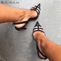 MeiLiKeLin atractivo cerrada en punta Claro sandalias de tacón alto de señoras los zapatos de las mujeres talones de la hebilla del tobillo de las bombas talón fino Sandales S20326