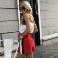 İki Parça Elbise MVGIRLRU Yaz Rahat Set V Boyun Sling Üst ve Kuşaklı Elastik Bel Şort Kadın Suits
