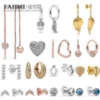 Pandora Autunno Avviso Shine Leaf Hoop Rose Silver Tiara Wishbone Cuore Corona Sterling Lady 489661604Charm Hanging Jewelry