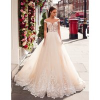 Champagne Hot Sale robe mariage Off The Shoulder A Line Lace...