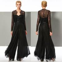 Elegant svart spets Jumpsuit Mother of the Bride Pant Suits Sweetheart Neck Bröllop Gästklänning Med Jackor Plus Storlek Mothers Groom Dresses