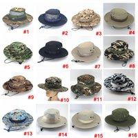 Katlanabilir Ordu Kova Şapka Spor Açık Mesh Kamuflaj Orman Askeri Kap Yetişkin Erkekler Kadınlar Kovboy Boonie Şapkalar Balıkçılık Ljja3704-6