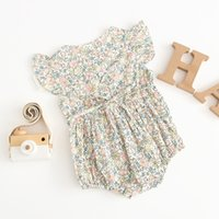 الاطفال ملابس الفتيات تسلق الصيف قصيرة الأكمام س الرقبة كامل الزهور رومبير فتاة أنيقة الرضع حللا رومبير ملابس الطفل