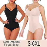 Novas Mulheres Plus Size Bodysuit Shapewear Emagrecimento Tummy Controle Shaper Corpo Inteiro Calcinha Estilo Clipe Zip Com Sutiã Cinto Fajas Y19070201